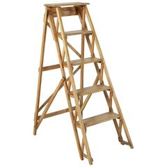 Mid-20th Century French Beechwood and Iron Folding Library Ladder, Display Shelf