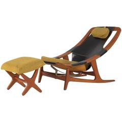 """""""Holmenkollen"""" Chaise Lounge with Ottoman by Arne Tidemand Ruud"""