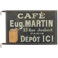 Rare Early 20th Century French Hand-Painted Double Faced Iron Cafe Martin Sign