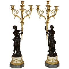 Pair of Louis XVI Gilt Bronze Candelabra Attributed to Jean-Joseph Foucou