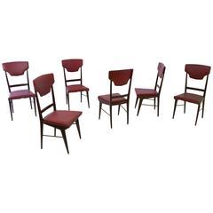Set of Six Ebonized Beech and Skai Chairs Prod. Cantù, Italy, 1950s