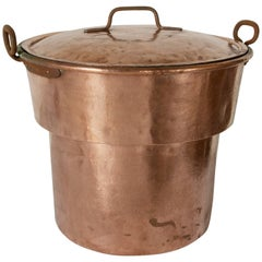 Very Large 19th Century French Copper Stock Pot or Cauldron with Lid