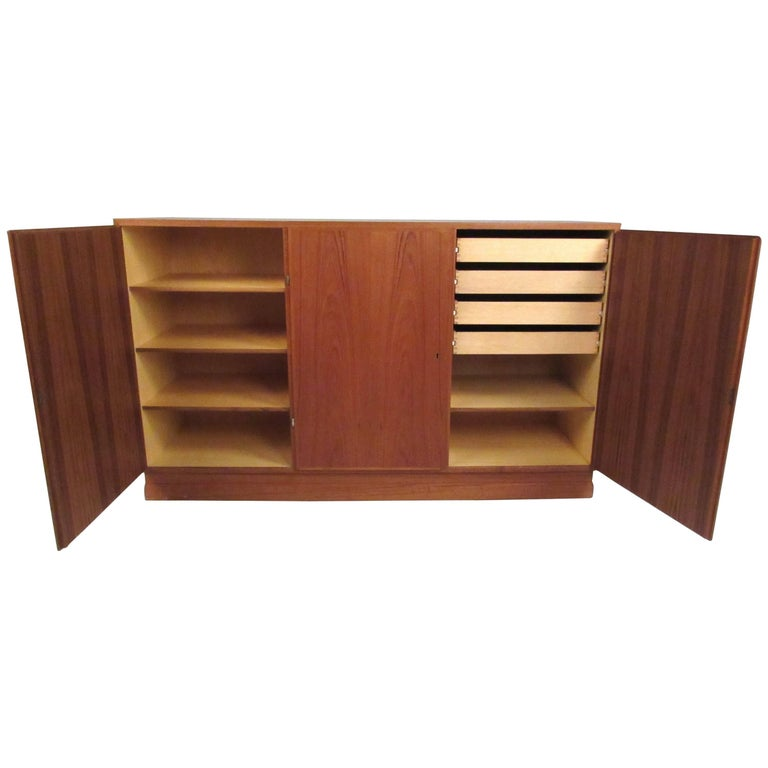 Scandinavian Modern Teak Storage Cabinet For Sale