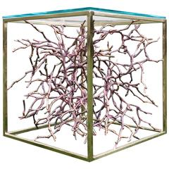 Cast Bronze Magnolia Twigs with Brass Frame Side Table