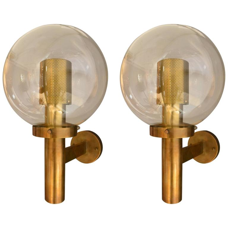 Pair of Brass and Glass Perforated Sconces by Hans-Agne Jakobsson for Markaryd For Sale
