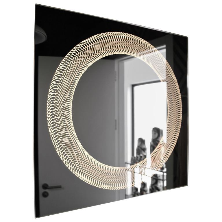 Modern Frameless Finely Etched Back Illuminated Square Glazz Cosmic Mirror