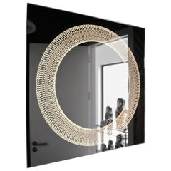 Modern Frameless Finely Etched Back Illuminated Glazz Cosmic Bathroom Mirror