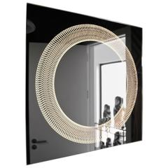 Modern Frameless Finely Etched Back Illuminated Square Glazz Cosmic Mirror