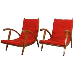 Very Rare Pair of Mid-Century Armchairs Attributed to Up-Zavody Brno