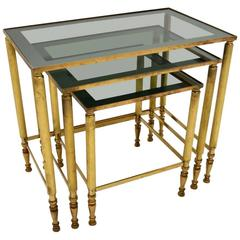 Retro French Brass Nest of Tables Vintage, 1950s