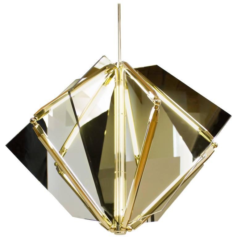 Bec Brittain Echo 1, Mirror and Brass LED Chandelier