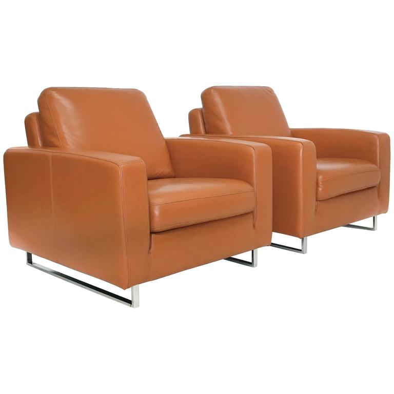 Mid century modern leather and chrome club chairs for sale for Modern leather club chair