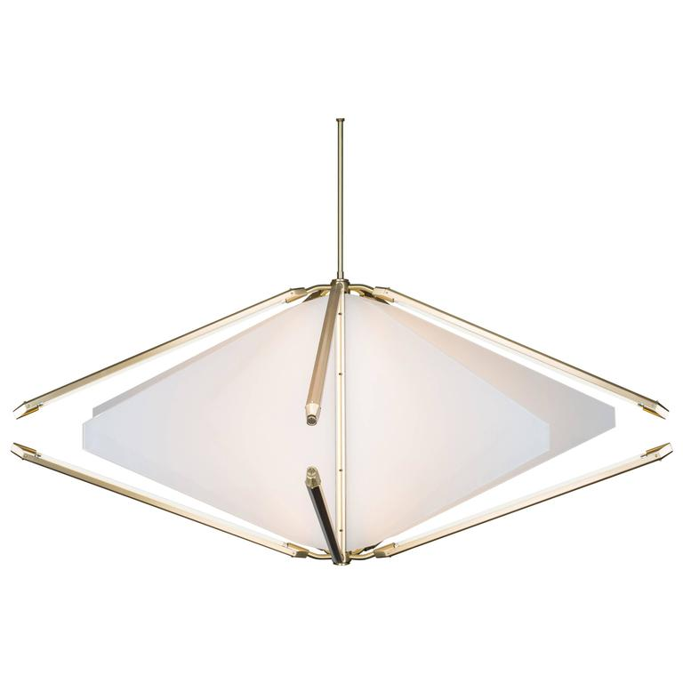 Bec Brittain Echo 2: Opal White Glass and Brass Led Chandelier