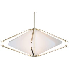 Bec Brittain Echo 2: White Glass and Brass Led Chandelier