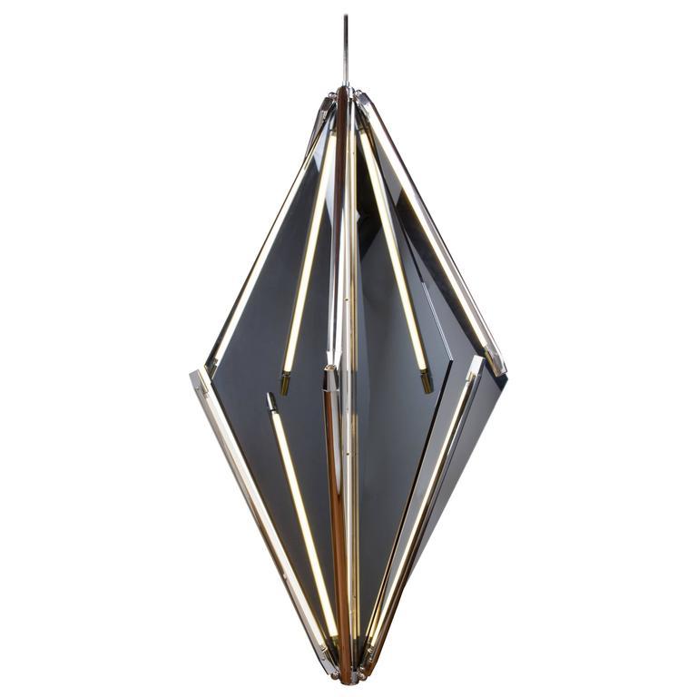 Bec Brittain Echo 3, Mirror and Brass LED Chandelier