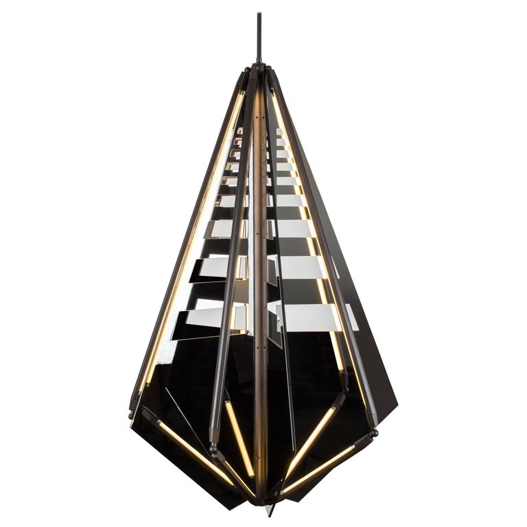 Bec Brittain Echo 4: Special Edition Perforated Mirror and Brass LED Chandelier