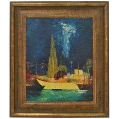 Belgium Oil Painting of Ghent by B. Van Landuyt, 1974
