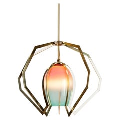 Bec Brittain Vise, Handblown Glass and Brass Chandelier