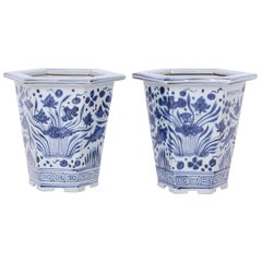 Pair of Chinese Export Style Blue and White Porcelain Planters