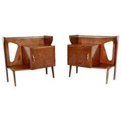 Pair of Beautiful Briar and Glass Pair of Nightstands, Italy, 1950s