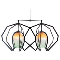 Bec Brittain Twin Vise, Hand Blown Glass and Brass Chandelier