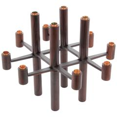 Mid-Century Modern Scandinavian Folding Candle Holder in Rosewood