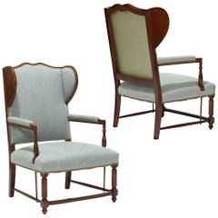 Swedish Art Deco Reinterpretations of Traditional Winged Back Chairs in Birch