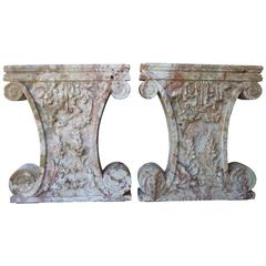 Pair of French 17th Century Rouge Languedoc Table Bases