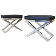Pair of Chrome X-Base Stools with Cowhide Seats
