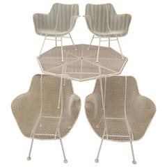 5-Piece Russell Woodard Sculptura Patio Dining Set 4 Armchairs Metal Wire Mesh