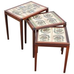 Mid-Century Modern Scandinavian Nesting Tables in Rio Rosewood and Ceramic Tale