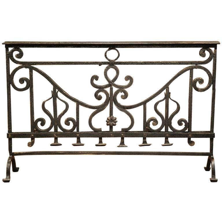 18th Century French Patinated Wrought Iron Fireplace Screen For Sale At 1stdibs
