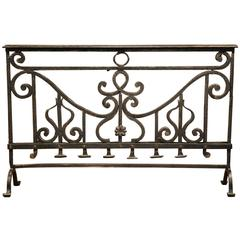 18th Century French Patinated Wrought Iron Fireplace Screen