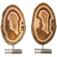 Pair of Oval Agate Slices Mounted on Metal and Acrylic Bases
