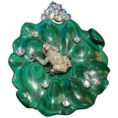 Rare 18-Karat Large 11-Carat Aquamarine Diamond and Malachite Frog Pendant