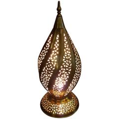 Moroccan Copper Table Lamp or Lantern, Twist Design