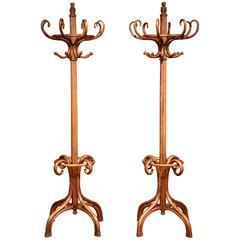 """Pair of Mid-20th Century Bentwood """"Perroquet"""" Coat Racks Thonet Style Dated 1932"""