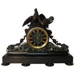 French, 19th Century Marble and Bronze Mantel Clock