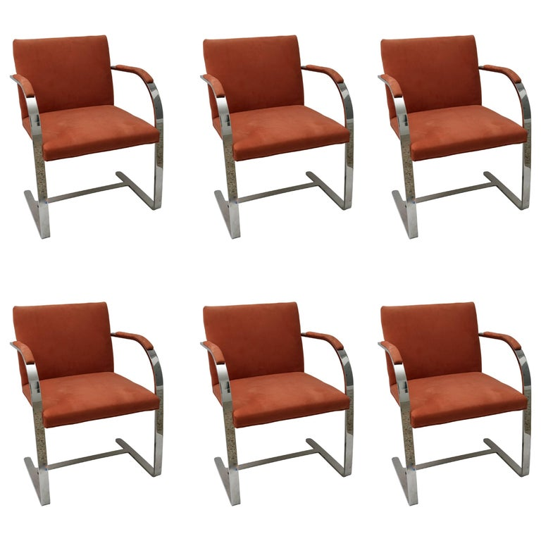 Set of Six Polished Steel Brno Arm Chairs by Brueton For Sale
