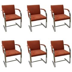 Set of Six Brno Flat Bar Chairs by Knoll in Polished Steel and Ultra Suede