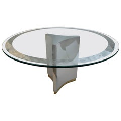 Mastercraft Dining Table in Polished Steel, Brass and Etched Glass