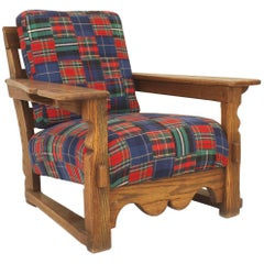 American Mission Rustic Old Hickory Large Oak Armchair