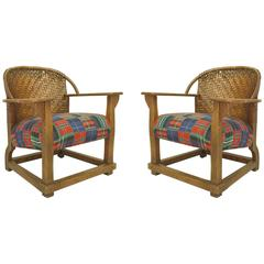 Two American Rustic Old Hickory Mission Woven Back Tub Armchairs