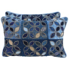 Pair of Custom Blue Cotton Quilted Pillows with Linen Backs