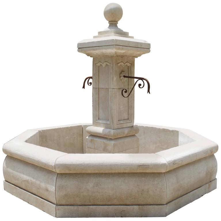 Carved Octagonal Limestone Centre Fountain from Provence For Sale