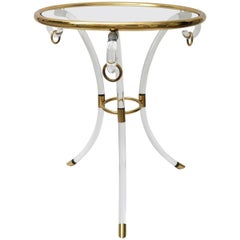 Charles Hollis Jones Lucite and Brass Gueridon Table