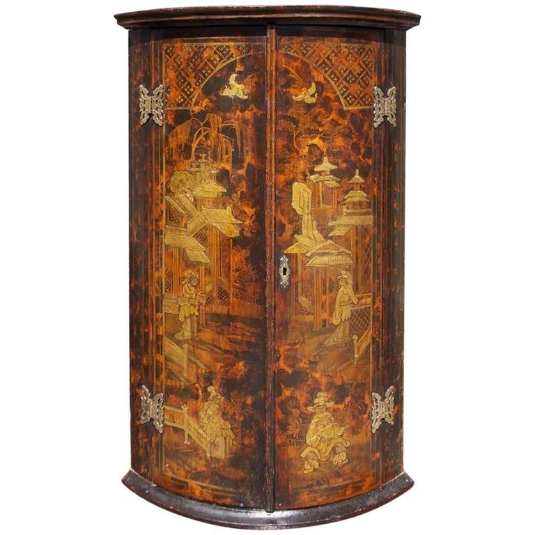 English Chinoiserie Figural and Landscape Hanging Corner Cupboard, Circa  1770 - Antique Bow Fronted Corner Cabinet, English, Georgian, Oak, Hanging