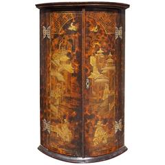 English Chinoiserie Figural and Landscape Hanging Corner Cupboard, Circa 1770