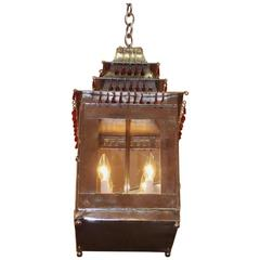 French Tin and Silver Hand-Painted Pagoda Hanging Lantern, circa 1850