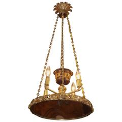 French Gilt Bronze and Foliage Argand Font Hanging Chandelier, circa 1820